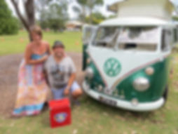 Stuart and Zoe Staples and their Split Screen Kombi, Pyxie after winning People's Choice in Toowoomba