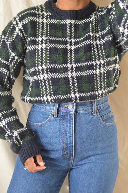 Vintage Plaid Sweater |M|
