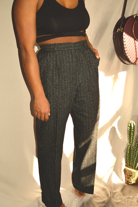 Vintage Black & White Wool Mix Trousers |10|