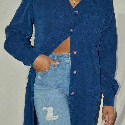 Vintage Cobalt Blue Button Down Midi Dress |8|