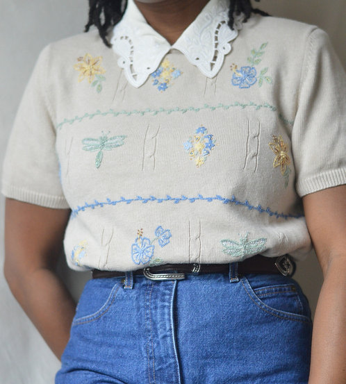 Vintage Delicate Embroidered Sweater |PM|