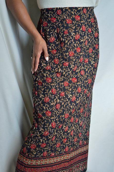 Vintage Floral Midi Skirt  10 