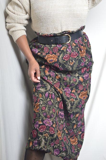 Vintage Floral Design Midi Skirt |14|