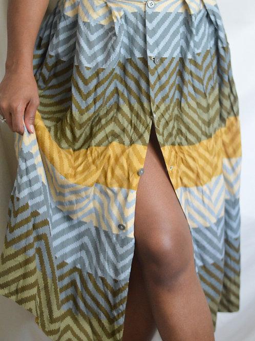 Vintage Multicolor Pleated Maxi Skirt  6P 
