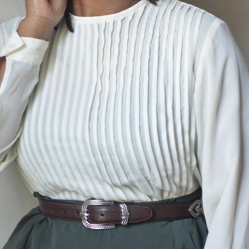 Vintage Silk Pleated Blouse |M|