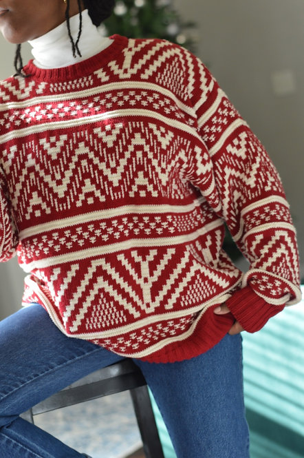 Vintage Festive Knit Sweater  M 