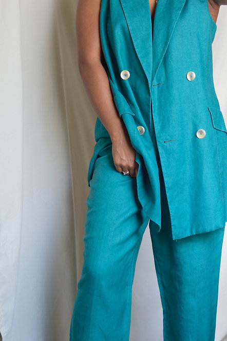 Vintage Rich Teal Linen Suit |12/14|