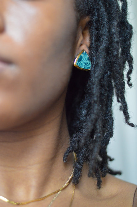 Vintage Teal Swirl Triangle Earrings |1"