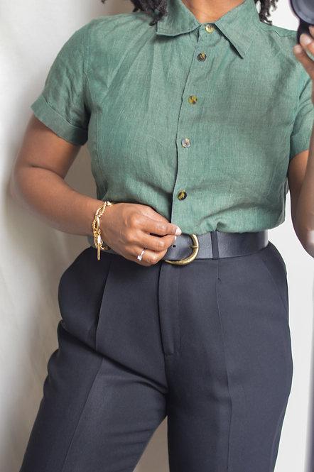 Vintage Linen Button-Down Blouse |8|