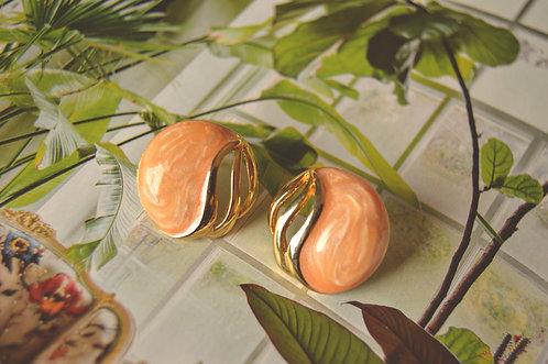 Vintage Peach & Gold Cutout Studs