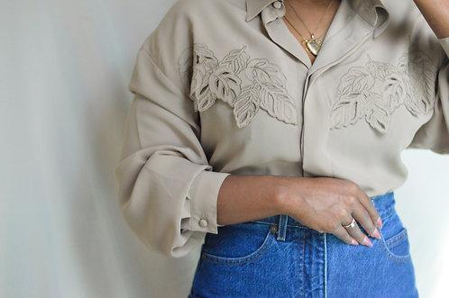 Vintage Leaf Cutout Adorned Blouse |16|