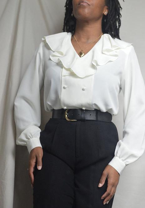Vintage Ruffle Puritan Collar Blouse