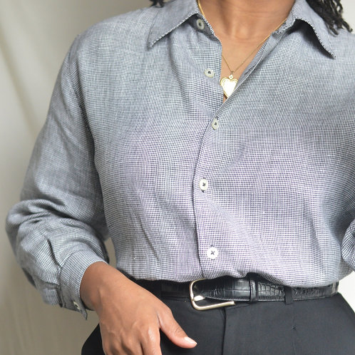 Vintage Linen Houndstooth Button-Down |PM|