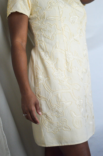 Vintage Cotton Blend Raised Embroidery Dress |12|