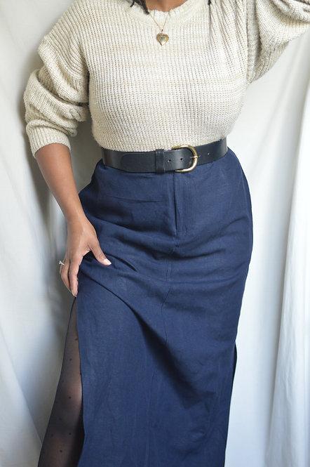 Vintage Linen Midi Skirt |10|