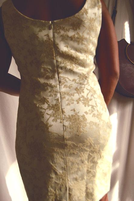 Vintage Champagne Jacquard Mini Dress |10|