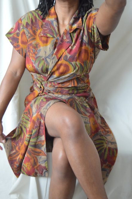 Vintage Autumn Florals Wrap Dress |11/12|