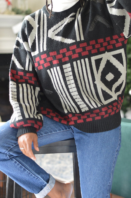 Vintage Leather Detail Sweater |XL|