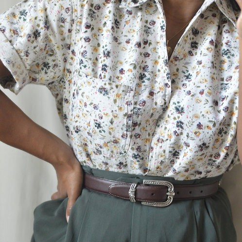 Vintage Floral Cotton Button-Down |M|