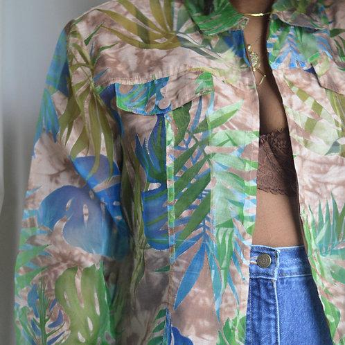 Vintage Tropical Print Organza Jacket |14|
