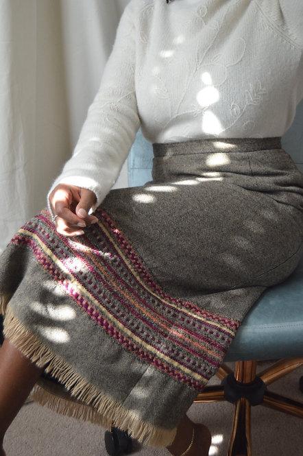 Vintage Textile Midi Skirt|10|
