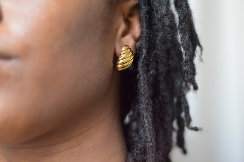 "Vintage Twisted Croissant Earrings  1.25"" "
