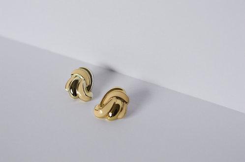 "Vintage Cream & Gold Post Earrings |1""|"
