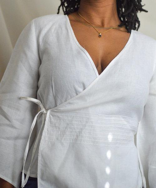 Vintage linen Wrap Top |S|