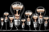 Photo of light bulbs group with shining