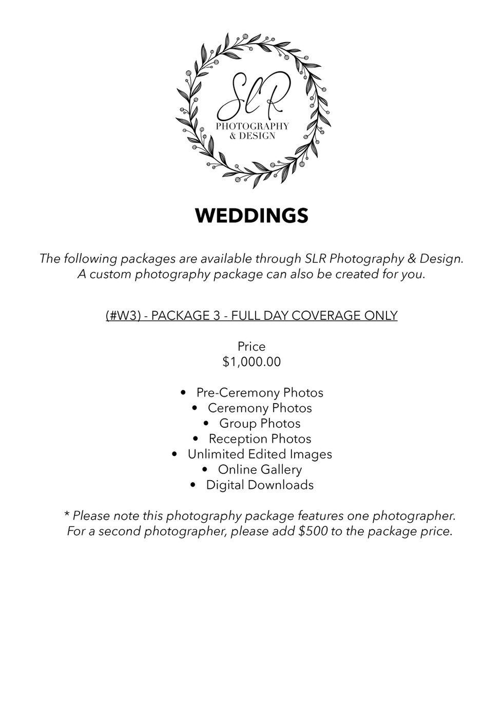 SLR Photography & Design price sheet -9.