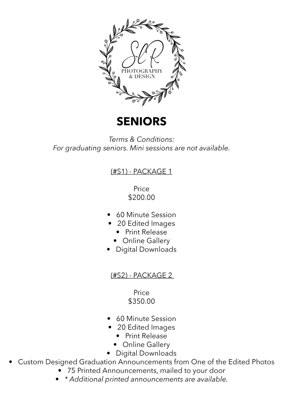 SLR Photography & Design price sheet -5.