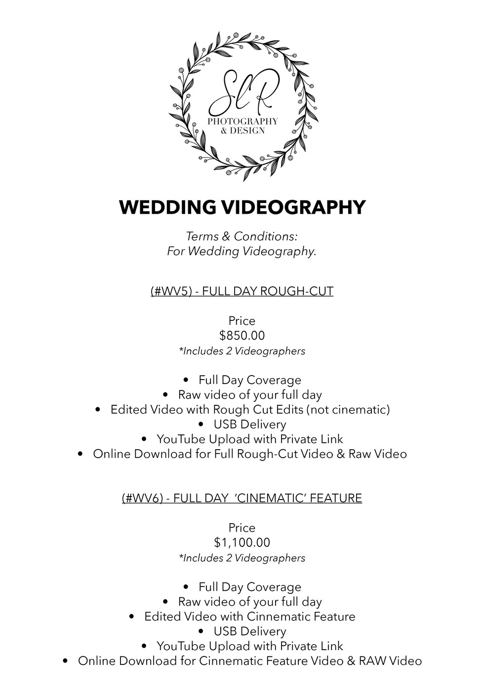 SLR Photography & Design price sheet -13