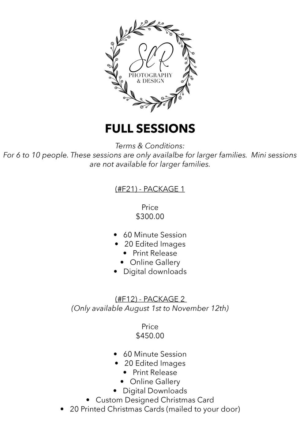 SLR Photography & Design price sheet -3.