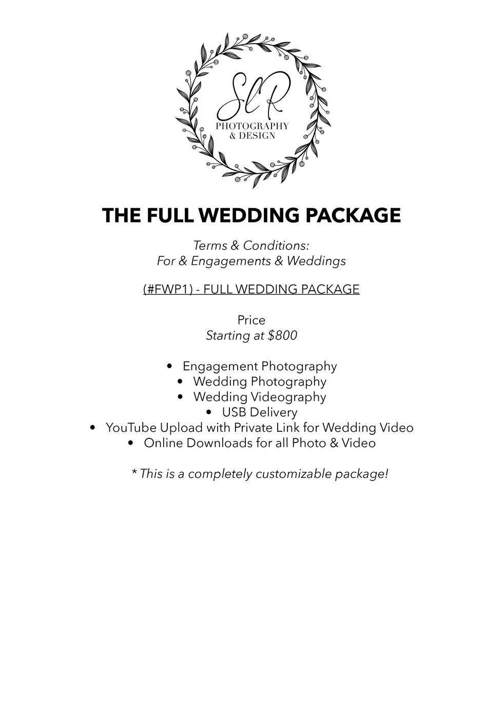 SLR Photography & Design price sheet -14