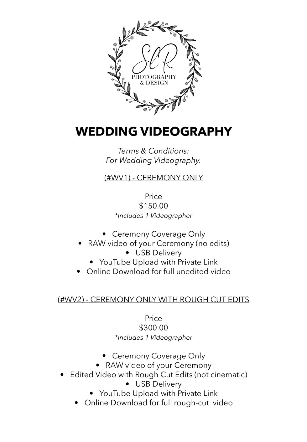 SLR Photography & Design price sheet -11