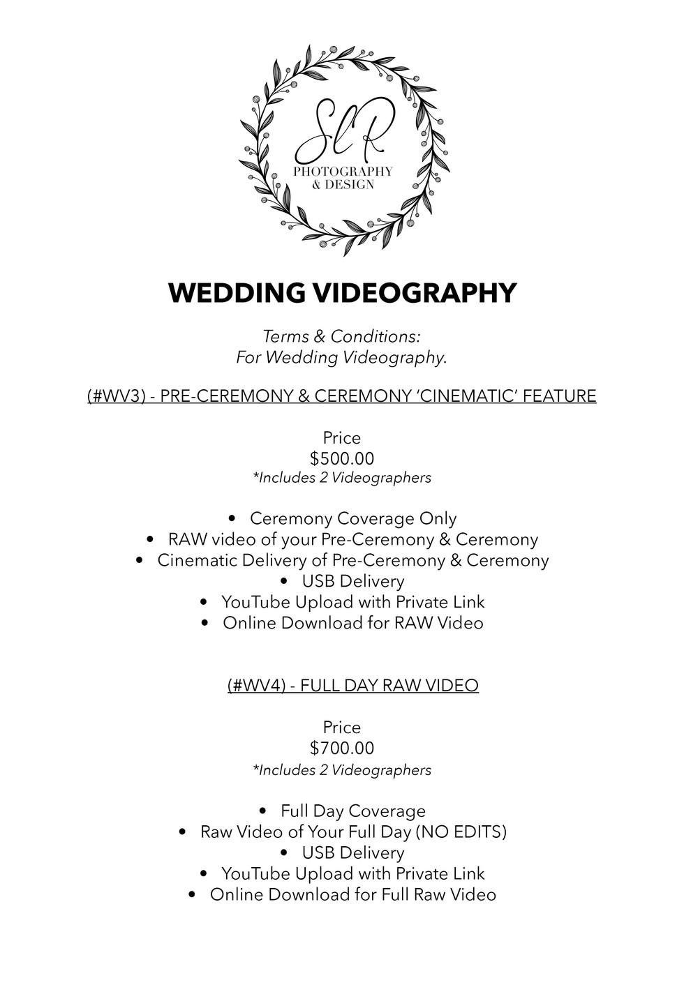 SLR Photography & Design price sheet -12