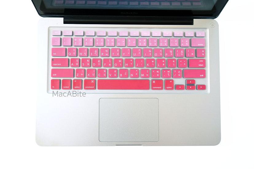 กันรอยคีย์บอร์ด สีชมพูแดง มีภาษาไทย-อังกฤษ MacBook
