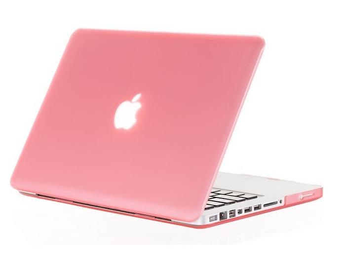 เคส Macbook สีชมพูโอรส ผิวด้าน ไม่เจาะโลโก้