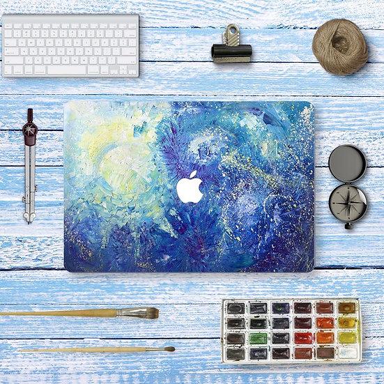sticker ลาย Blue Art Brush ติดรอบตัวเครื่อง Macbook