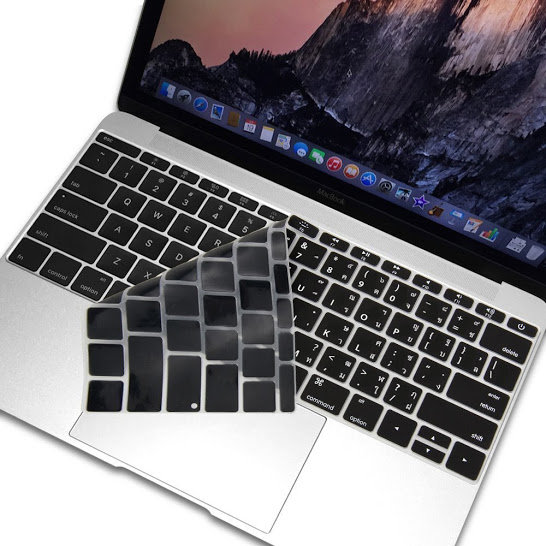กันรอยคีย์บอร์ด สีดำ มีภาษาไทย-อังกฤษ MacBook