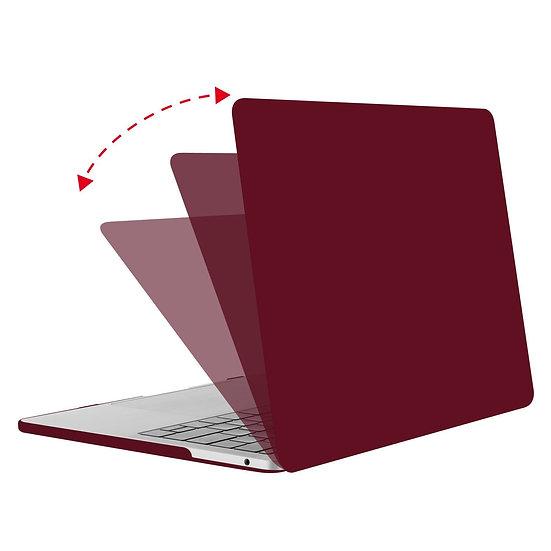 เคส Macbook สี Wine Red  ผิวด้าน ไม่เจาะโลโก้
