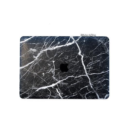 เคส Macbook ลายหินดำลายขาว เจาะโลโก้