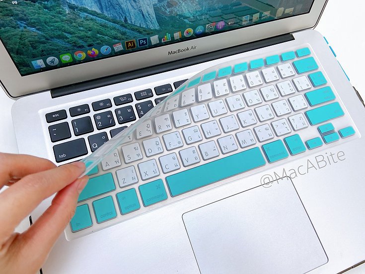 กันรอยคีย์บอร์ด สีกรอบฟ้า-ขาว มีภาษาไทย-อังกฤษ MacBook