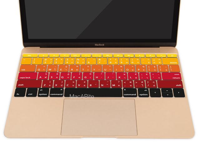 กันรอยคีย์บอร์ด สีแดงไล่โทน มีภาษาไทย-อังกฤษ MacBook