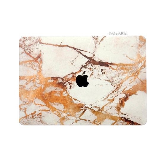 เคส Macbook ลายหินอ่อนทอง เจาะโลโก้