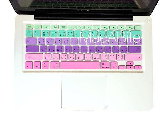 กันรอยคีย์บอร์ด สีชมพูม่วง มีภาษาไทย-อังกฤษ MacBook