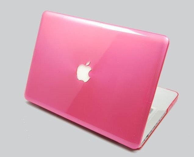 เคส Macbook สีชมพู ผิวมัน เจาะโลโก้