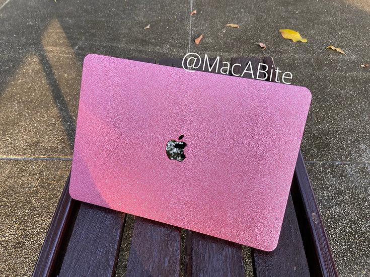 เคสMacbookกากเพชร สี Pink Red ชมพูบานเย็น เจาะโลโก้ มีTextureกากเพชร