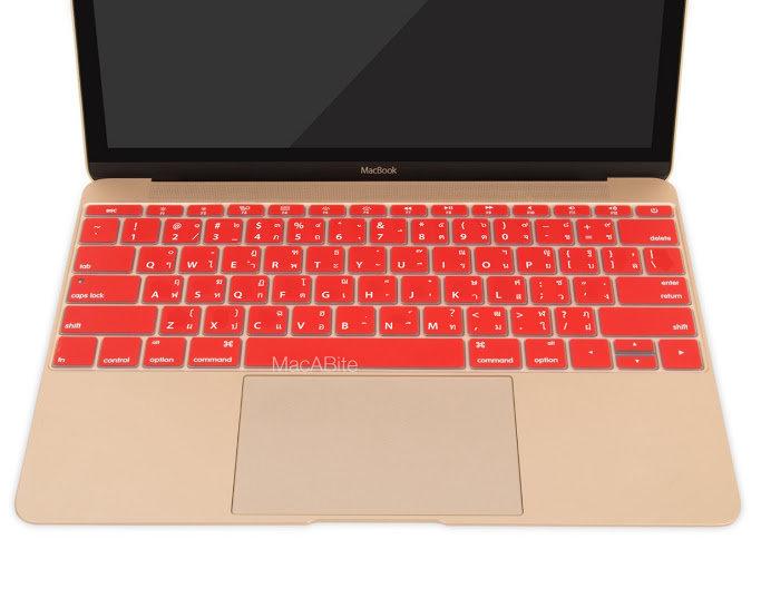 กันรอยคีย์บอร์ด สีแดง มีภาษาไทย-อังกฤษ MacBook