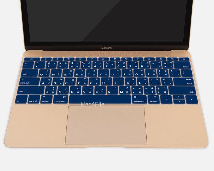 กันรอยคีย์บอร์ด สีน้ำเงินเข้ม มีภาษาไทย-อังกฤษ MacBook